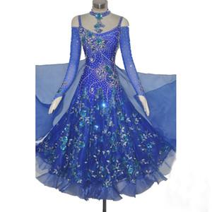 Costume da ballo per donna Vestito da ballo Royal Blue Professione su misura Waltz Tango Flamenco Competition Costume da ballo per signora