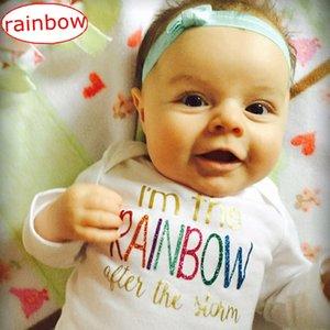"""""""Sono l'arcobaleno dopo la tempesta"""" INS Baby Girls Pagliaccetti Costumi Lovely Child Colorful Rainbow Tuta stampata Costume intero Pagliaccetto"""