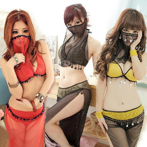Masked Arab Girl Sexy Lingerie Dress Pole Dance Clothes Belly Dance Indian Dance Performances Game Uniforms Sexy Costumes Set
