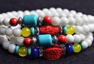 6mm Natural White Tridacna gemstone  Tibetan Buddhist 108pcs Prayer  Gourd mala Prayer Bracelet for Meditation