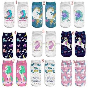 3D Print Einhorn Frauen große Kinder Söckchen Kleidung Zubehör Casual Socken Einhorn Cartoon Animal print Hip Hop Socken 28 Farben C3695