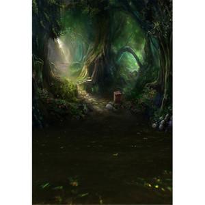 Fairy Tale Forest Photo Backdrop Impresso Árvores Velhas Primavera Flores Crianças Crianças Fotografia Fundos para Estúdio