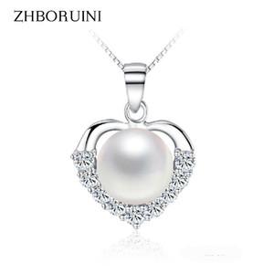 ZHBORUINI Collana di perle 925 gioielli in argento sterling per le donne gioielli di perle d'acqua dolce naturale amore ciondoli cuore regalo