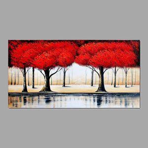 Handgemalte Ölgemälde Rot üppigen Wald Baum des Lebens Wandkunst Bilder für Wohnzimmer Büro Dekor cx5