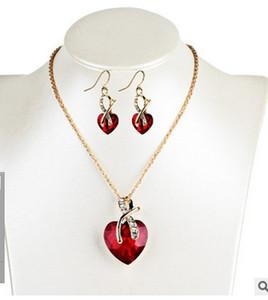 Il commercio estero Europa e America cena di nozze di fascia alta di lusso a forma di cuore austriaco di cristallo zircone orecchini collana di gioielli set donne