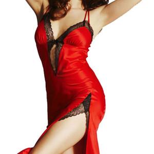 Ladies Sexy Silk Satin Night Dress Sleeveless V-neck Nightgown Nightdress Lace Sleepwear Split ends Nightwear S1011