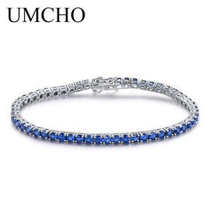 UMCHO Luxo Criado Sapphire Pulseira de Prata Esterlina 925 Jóias Personalizado Birthstone Romantic Wedding Gemstone JóiasY1882701