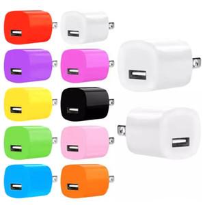Alta qualidade Colorido 5 V 1A EUA Ac Casa Adaptador De Alimentação Carregador De Parede Para samsung para iphone 6 7 plus