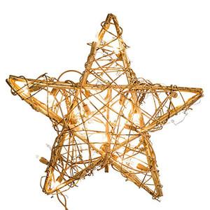 20LED Lumières De Noël À La Main Bricolage Arbre Vignes En Rotin Comps Forme De L'arbre De Noël Avec Des Lumières Décoration Star Tree Toppers