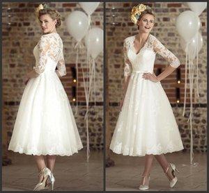 Три четверти рукава кружево Vintage V-образным вырезом Дешевые Пляж Свадебные платья 2020 Новый сексуальный Casamento Vestidos De Novia платье короткие свадебные