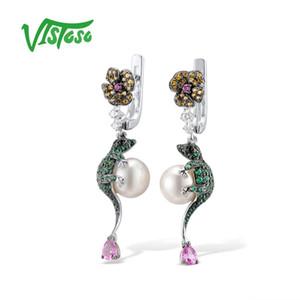 Vistoso Gümüş Damla Küpe Küpe İçin Kadınlar 925 gümüş Yuvarlak Beyaz Tatlı Su İnci Moda Güzel Takı Kertenkele