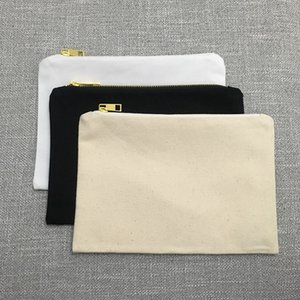 7x10 بوصة الأسود التجميل الحقيبة الخط حقيبة فارغة قماش حقيبة ماكياج القطن ماكياج الحقيبة العروسة هدية ل diy احباط الطباعة
