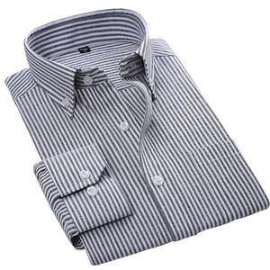 2018 Alta Qualidade Easy Cuidados Oxford Sólido Listrado Manga Longa Botão Cobertura Cobertura Slim Fit Clássico Negócios Vestido Homens Camisas