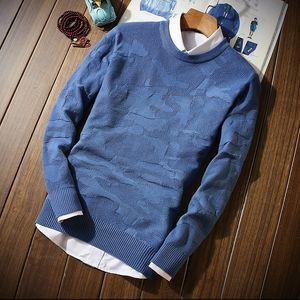 2018 Sección fina de invierno Jersey de cuello redondo para hombre S M L 2XL 3XL Azul Gris Verde Negro Suéteres de hombre delgados y cómodos ROM IZQUIERDA