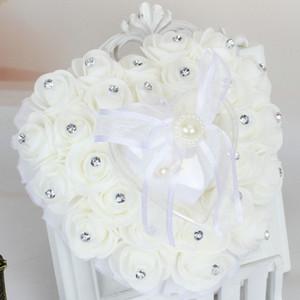 Wedding Frower Cojín de almohada de anillo en forma de corazón con flores de rosa Cintas de bowknot Perlas de Rhinetone Anillo de regalo Caja para decoración Nupcial