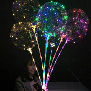 Bobo Ball 18inch Transparent Led Light Balloon Round Bubble Helium Balloons Party Birthday Wedding Balloons OOA3888