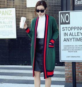 Nuevo suéter de punto de la rebeca Diseñador de alta calidad de las mujeres de la manera Cardigan largo de punto Colorblock raya suéter flojo de la chaqueta al por mayor