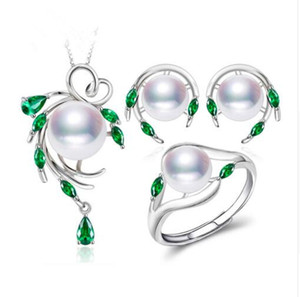 Nuevos juegos de joyas de perlas naturales de plata de ley 925 para mujeres, aretes de esmeralda, collar colgante conjunto de anillos de compromiso