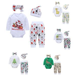 Niños Trajes de Navidad Bebé Santa Claus Dinosaur Deer Romper + Pantalones con diadema y sombrero 4pcs / Set Otoño Navidad niños ropa de ropa C5302