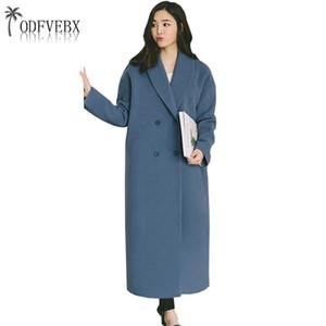 2018 Kış Yeni Giyim Kadın Ceketler Uzun Yün Ceket Ince Sonbahar Yün Yün Ceket Kadın Rahat Büyük boy Sıcak Palto