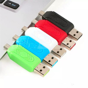 جديد 2 في 1 USB ذكر إلى مايكرو USB المزدوج فتحة OTG محول مع TF / SD قارئ بطاقة للهواتف الذكية الروبوت اللوحي سامسونج