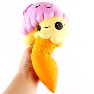 22CM 카툰 더블 스마일 페이스 아이스크림 스퀴시 느린 상승 달콤한 향수 부적 음식 리바운드 빵 아이 장난감