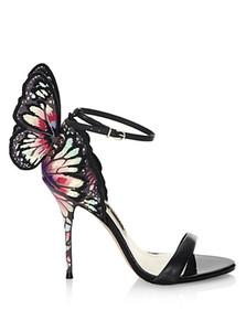 Frete grátis 2018 Senhoras de couro de patente fivela de salto alto Rose ornamentos de borboleta sólida Sophia Webster SANDÁLIAS SAPATOS tamanho colorido 34-42