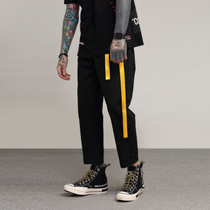 Black Straight Pants Solid Color With Ribbon Cotton Bottom Clothing Casual Fashion Long Ninth Pants Large Size US