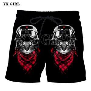 YX menina 2018 homens verão fresco espaço gato mascarado gangster cat 3d impresso praia casual shorts homens basculador de fitness com cordão