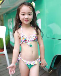 2pcs de los bebés de los niños del traje de baño de Tankini del bikini floral traje de baño traje de baño bikini conjunto de verano para niños Ropa de playa