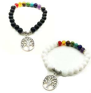 DHL Lava Rock Bead Bracelet Tree of Life Charm Bracelets Healing Balance Beads Piedra natural Joyas Joyas Buen regalo de Navidad