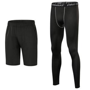 Hızlı kuru 3 renk spor şort ve tozluk basketbol spor pantolon sıska Joggers çalışan sıkıştırma pantolon setleri mens