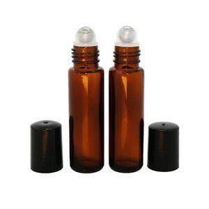 Стеклянные бутылки ролика, 10 мл янтарные бутылки ролика эфирного масла с шариками ролика нержавеющей стали бутылки Роллона для эфирных масел
