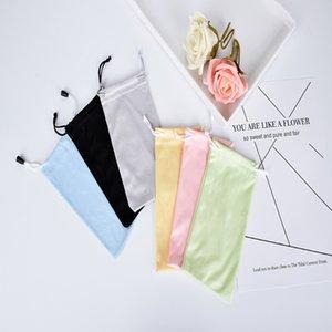 50 pcs Livraison Gratuite Qualité 100% Polyester 175gsm microfibre Deux Pull Cordes 7 Couleurs Lunettes De Soleil Lunettes En Tissu Sac En Tissu Poche