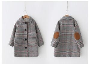 kızlar için kış yeni moda Houndstooth yün ceket palto Çocuk kız çocuk Windproof dış giyim uzun sonbahar ceket sıcak Teens