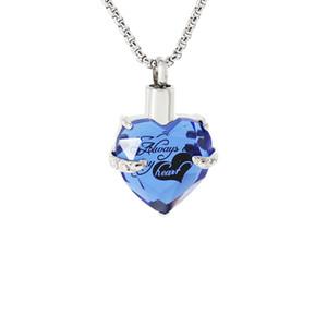 Colar de Urna de cremação para Cinzas de Cristal Memorial Ash Jóias De Urna de Lembrança de Aço Inoxidável para Homens Sempre em Meu Coração Coração De Vidro Azul