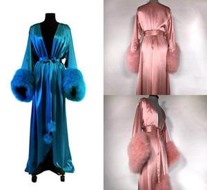 Heiße Frauen Sexy Nachtwäsche Satin Pelz Dessous Nachtwäsche Bademäntel Intime Nachtkleid Robes Kimono Exotisches Kleid Babydolls Chemises Gürtel