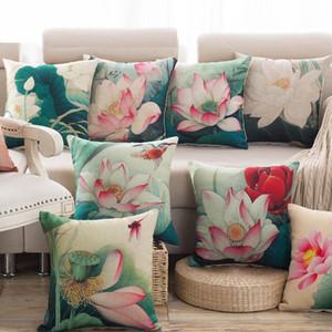Federa decorativa Federa di lino in cotone Lotus Federa americana Federa per cuscino in stile country per divano Home Decor