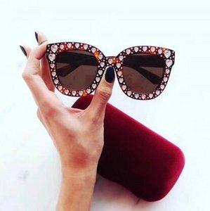 Бренд дизайнер 0116 S солнцезащитные очки роскошные женщины солнцезащитное стекло Звезда BLING BLING полный кадр Алмаз любовь очки цвет Фильм объектив УФ - защита su