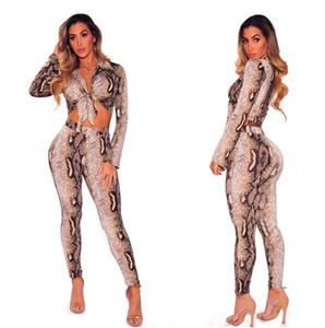 Hot Sexy MOLDBABY Python Lines Collants Frenum manches longues Lapel Hauts + Pantalons Skinny deux-pièces pour dames costumes femmes Impression populaire ensemble