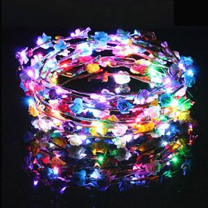 Мигающие светодиодные ленты для волос шнуры Glow Flower Crown Повязки Light Party Rave Цветочные гирлянды для волос Светящиеся венок аксессуары для волос GGA1276