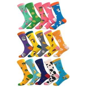 30PC = 15 Paare neue Männer und Frauen Gezeiten Socken multicolor Cartoon Tier Farbe Obst Jacquard gekämmte Baumwolle komfortable Paar Socken