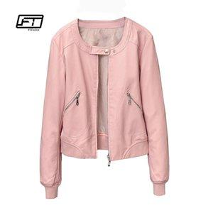 Fitaylor 2018 chaqueta de imitación de cuero de las mujeres del O-cuello de la chaqueta de la cremallera capa ocasional corta femenina más el tamaño S-4XL básico Outwear