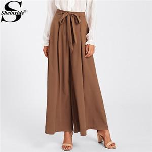 Sheinside 2018 pantalon large lâche café élégant taille moyenne jupe auto-ceinturée arc jupe pantalon Palazzo femmes plaine pantalon long