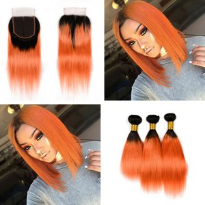 Ombre Color 1B Orange Human Hair 3Bundles with Lace Closure Silky Straight Brazilian 1B 350 Virgin Human Hair Extension With Top Closure