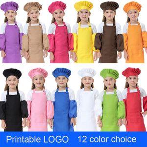 Entzückende 3pcs / set Kind-Küche-Taillen 12 Farben für Kinder Schürzen mit SleeveChef Hüte für Malerei Kochen Backen Druck LOGO DHL