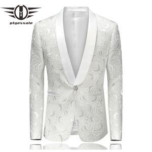 Plyesxale Blazer Uomo 2018 Slim Fit Uomo Blazer floreale Elegante collo a scialle Suit Bianco Blazer da sposa per uomo Stage Wear Q233