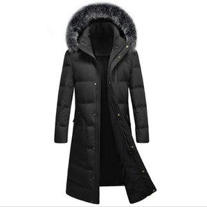 الرجال بطة طويلة أسفل الفراء هود الشتاء معاطف دافئة جديدة V1029-009