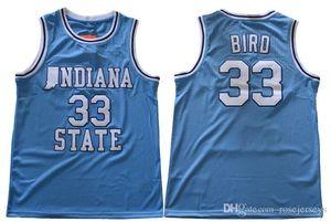 Indiana State Sycamores # 33 Oiseau Rétro Bleu Jersey ISU Hommes Blanc Larry Green Springs Valley Noir Soul Swingman College Maillots De Basket-ball