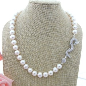 Charming 8-9mm white freshwater pearl necklace micro inlay zircon dragon accessories necklace long 48 cm